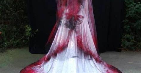 gothic red white black wedding dress  veil