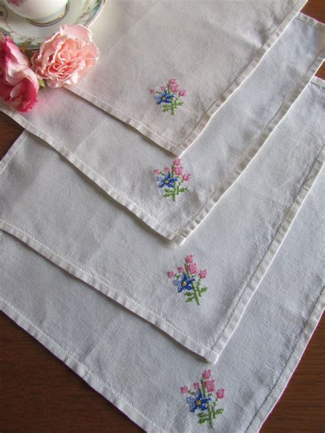 shabby chic napkins four linen napkins off white napkins embroidered napkins shabby chic kitchen high tea