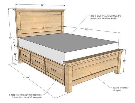 bed plans ana white farmhouse storage bed with storage drawers diy projects