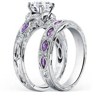 engagement rings and wedding band sets fashion design silver purple cubic zirconia wedding engagement bridal ring set in rings from