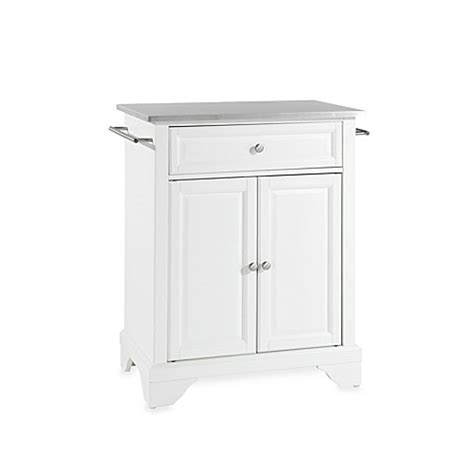 stainless steel portable kitchen island buy crosley lafayette stainless steel top portable kitchen island in white from bed bath beyond