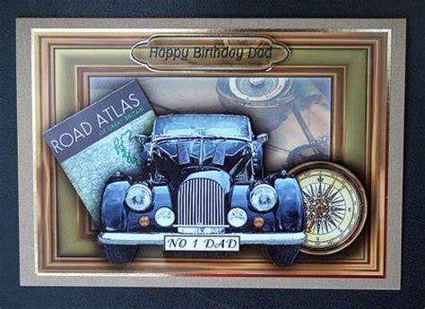 happy birthday dad vintage car   card front