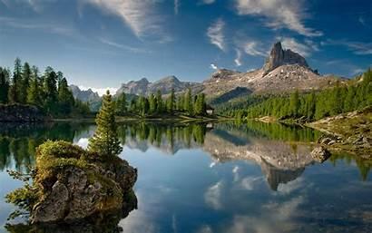 Desktop Lake Mountains Water Peaceful Rocky Island
