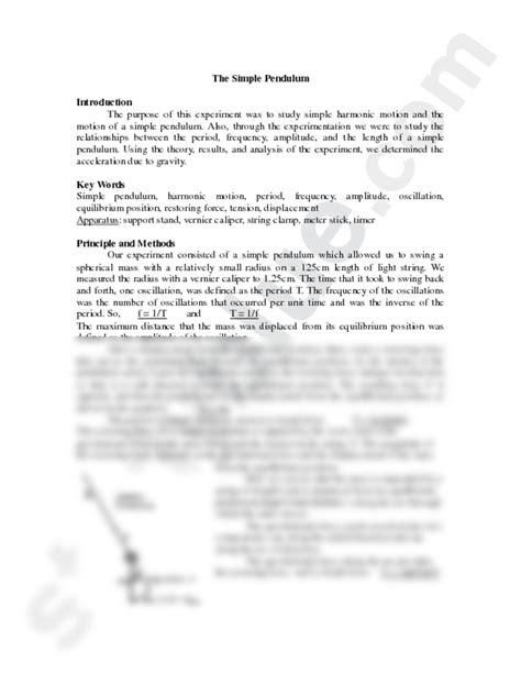 Pendulum Lab Report by Lab Report 9 1 Simple Pendulum Physics 221 With