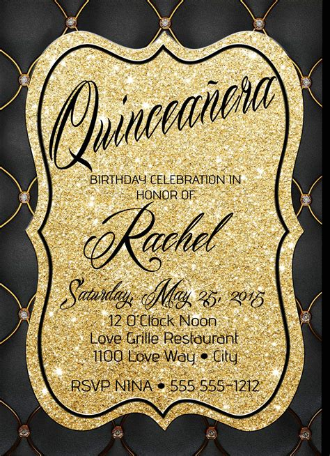 Black And Gold Birthday Invitations Free Resume Templates