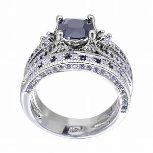 aliexpresscom buy gorgeous black sapphire crystal ring With crystal wedding ring sets