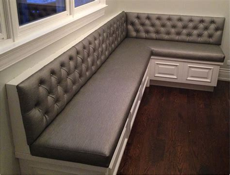 corner bench seating transitional tufted sewn custom kitchen banquette