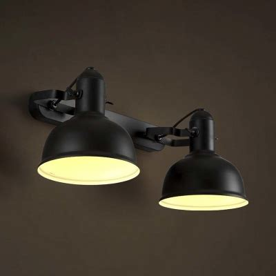 satin black double head led wall sconce in industrial