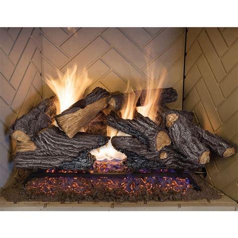 split oak vented natural gas log set dual burner