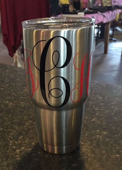 images  yeti cups  pinterest monogram decal cars  college football