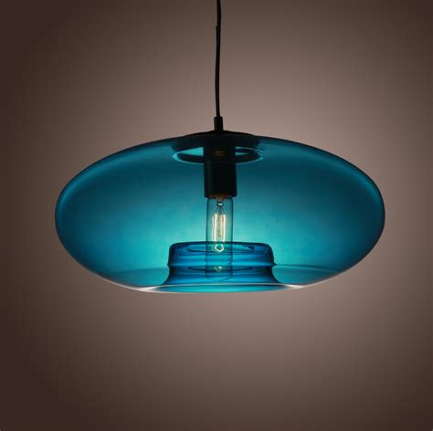 american modern glass pendant liights with blue