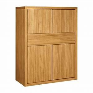 genna buffet haut 4 portes avec tiroir en chene habitat With meuble 4 portes