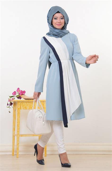 dress tunik mavi beyaz tesettür tunik tesettur foni