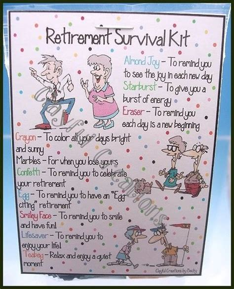 retirement survival kit party gifts quotes gag basket teacher celebration kits google decorations cards poems candy gift poem diy parties