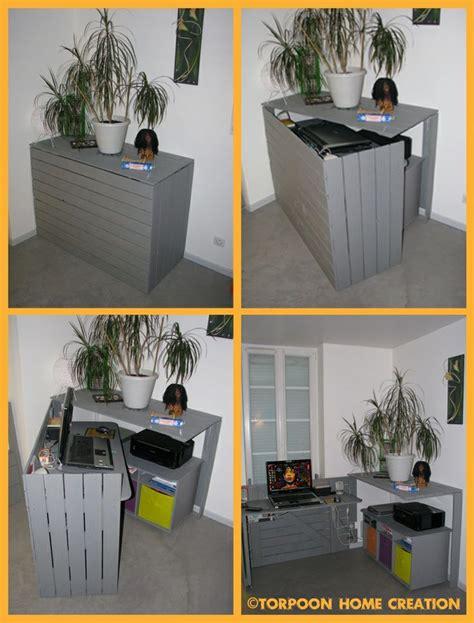 idee de bureau a faire soi meme diy un bureau caché réalisé avec des palettes consoles