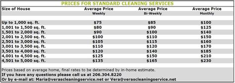 house cleaning rates services rates