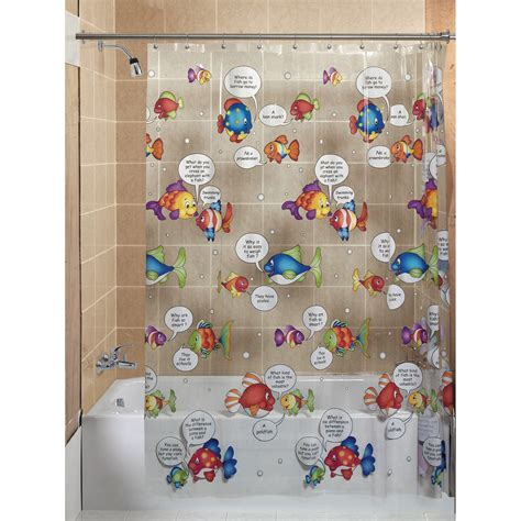 fish shower curtain essential home talking fish vinyl shower curtain