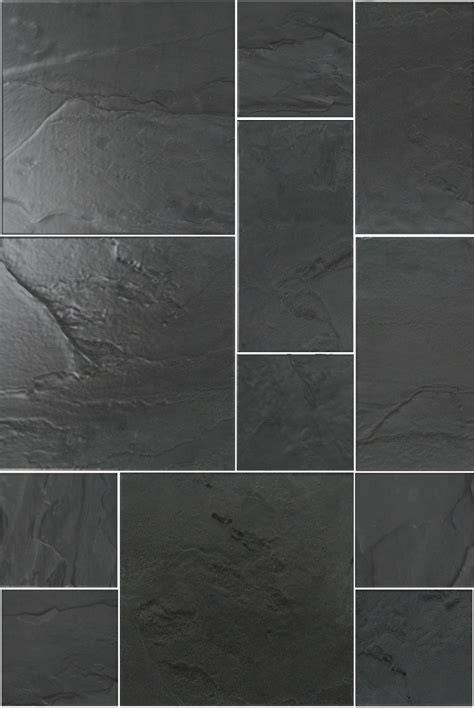rustic black slate modular uncalibrated tile walls