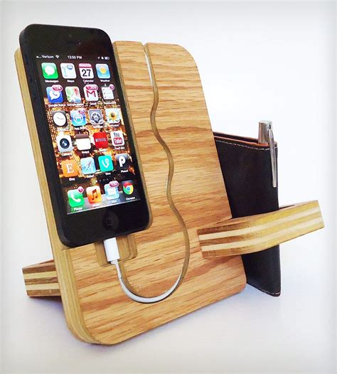 wooden iphone station furniture awesome wood iphone station valet wallet