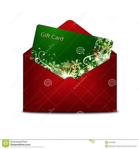 christmas gift card in red envelope over white royalty
