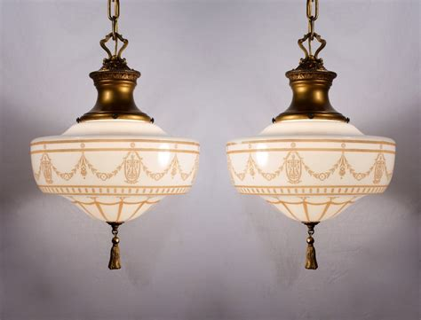 Antique light pendants democraciaejustica two matching antique lightolier pendant lights pewter aloadofball Gallery