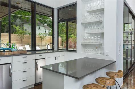 bar niche  gray staggered floating shelves modern
