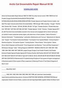 Arctic Cat Snowmobile Repair Manual 90 98 By Cerysbriley