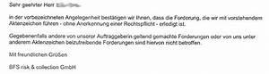 Inkasso Ohne Rechnung : mahnung durch bfs risk collection gmbh ~ Themetempest.com Abrechnung