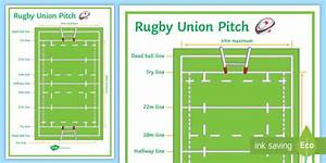 Rugby Union Pitch Diagram A4 Display Poster