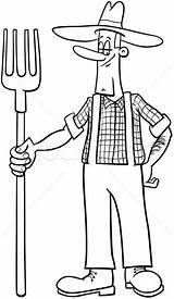 Farmer Coloring Cartoon Pitchfork Premium Pages Template Vector sketch template