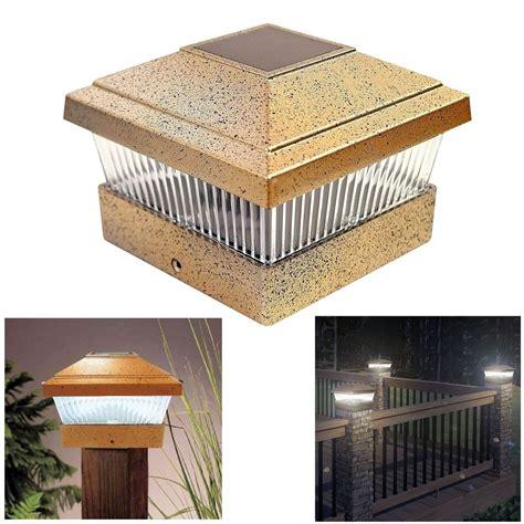 outside solar l post solar led powered light garden deck cap outdoor decking