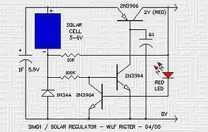 simd1 solar regulator basic circuit circuit diagram With multi led version of the circuit with three leds and various resistors