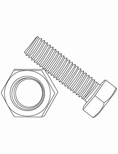 Bolt Nut Nuts Bolts Coloring Drawing Pages