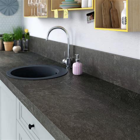 peinture pour stratifié cuisine plan de travail stratifié noir mat l 315 x p 65 cm ep 58 mm leroy merlin