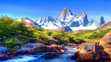 Mountain Scenery With Snow Covered River Rocks, Beautiful