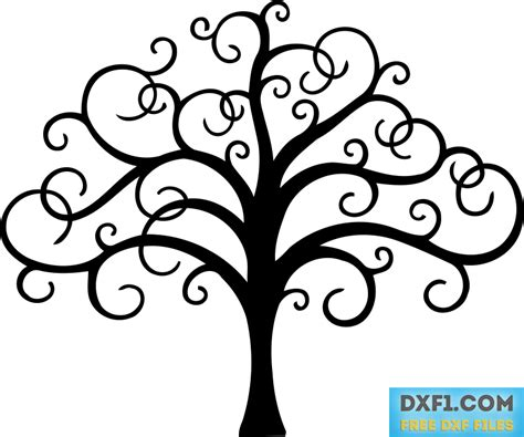 tree with twisted branches file for cutting free dxf ai