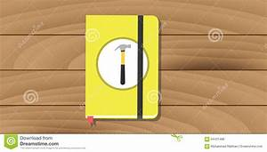 Manual User Guide Book Yellow Hammer Icon Flat Stock