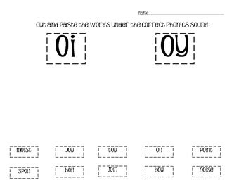 phonics cut and paste vowel diphthongs by tami teaches