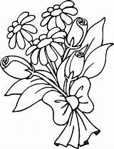 Bouquet Coloring Flowers Pages Colouring Printable Clipart Clip sketch template