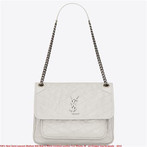 real saint laurent medium niki bag  white crinkled leather fort wayne  ysl blogger