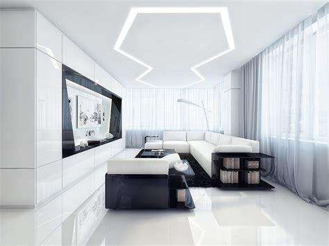 White Apartment by Futuristic Black And White Apartment