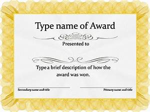 Free editable certificate of award template sample for Free award certificates templates to download