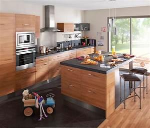 Cuisine 6m2 avec ilot top cuisine for Idee deco cuisine avec cuisine contemporaine pas cher