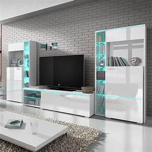 Meuble Tv Led Blanc Laqué : meuble led pas cher ~ Teatrodelosmanantiales.com Idées de Décoration