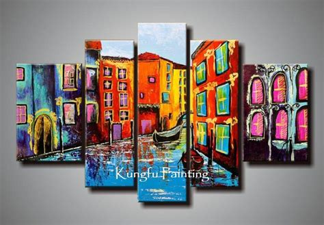 Home Decor Paintings 3 Panel Classic Paris Oil Painting On: 2018 100% Hand Painted Abstract 5 Panel Canvas Art Living