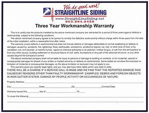 3 year workmanship warranty from straightline siding in With workmanship guarantee template