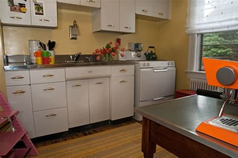 White Metal Kitchen Cabinets by Emily Andy S Vintage Cottage Kitchen Redo Metal