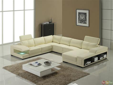 cream italian leather modern sectional sofa shelves