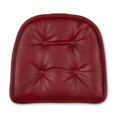 set    faux leather tufted kitchen chair pads