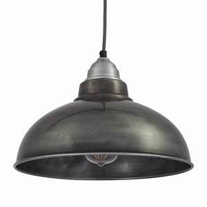 Vintage style pendant light dark grey pewter with inch